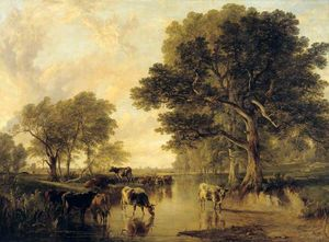 Frederick Richard Lee - Evening In The Meadows (cattle By Thomas Sidney Cooper)