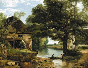 Frederick Richard Lee - My Cottage Near The Brook - A Wooded River Landscape With An Overshot Mill And Fishermen