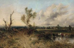 Frederick Waters (William) Watts - A Drover With Cattle Watering In A Extensive Landscape