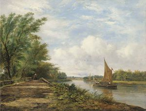 Frederick Waters (William) Watts - Barges On A River In A Sunlit Landscape