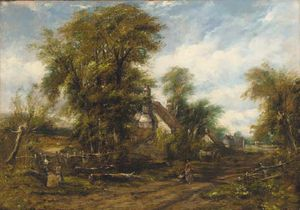 Frederick Waters (William) Watts - Figures Before A Cottage On A Wooded Path