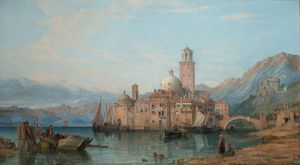 George Clarkson Stanfield - An Italian Lake Scene