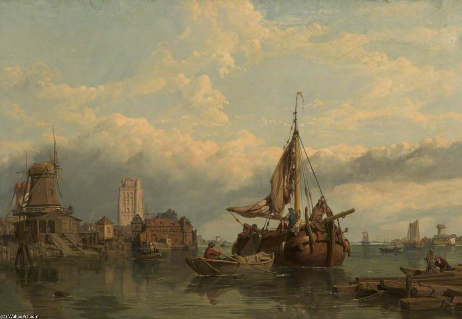 Shipping On The Scheldt by George Clarkson Stanfield (1793-1867, United Kingdom)