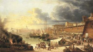 Guiseppe Canella - A Capriccio Of A Walled Harbour, Thought To Be Valletta, Malta