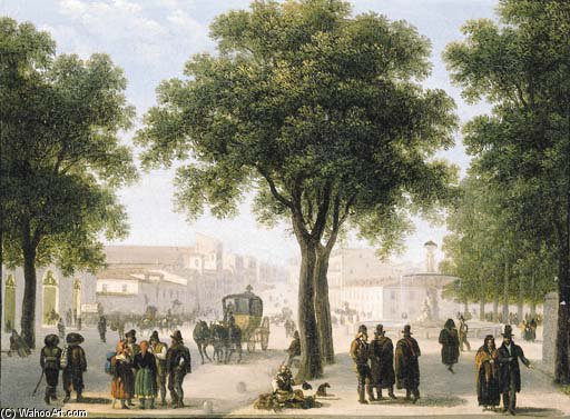A View Of Calle Atocha, Madrid by Guiseppe Canella (1788-1847, Italy) | Museum Quality Reproductions | WahooArt.com