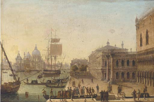 Bidding A Fond Farewell Before The Doge`s Palace, Venice by Guiseppe Canella (1788-1847, Italy) | Famous Paintings Reproductions | WahooArt.com