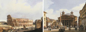 Guiseppe Canella - The Colisseum, Rome; And The Pantheon, Rome