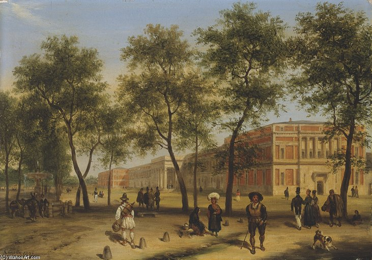 View Of Alleged Paseo Del Prado With The Prado Museum In Madrid by Guiseppe Canella (1788-1847, Italy)
