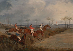 Henry Thomas Alken - Scenes From A Steeplechase- Another Hedge
