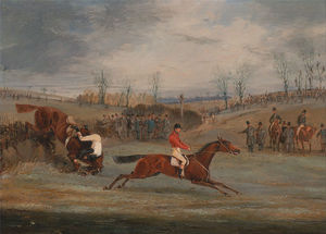 Henry Thomas Alken - Scenes From A Steeplechase- Near The Finish