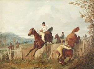 Henry Thomas Alken - Steeplechasers Jumping A Fence