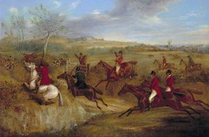 Henry Thomas Alken - The Belvoir Hunt - Jumping Into And Out Of A Lane