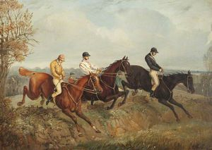 Henry Thomas Alken - Three Steeplechasers Clearing A Ditch