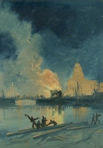 James Baker Pyne - Bristol Riots - Burning Toll House On Prince Street Bridge