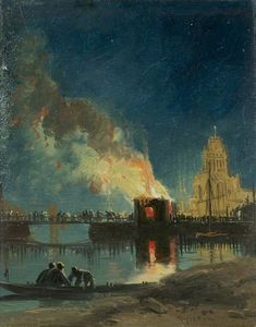 James Baker Pyne - Bristol Riots - The Burning Of The Toll Houses, Prince Street Bridge