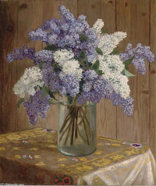 Purple And White Lilacs In A Glass Vase by Nikolai Petrovich Bogdanov Belsky