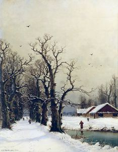 Nils Hans Christiansen - Winter Scene -