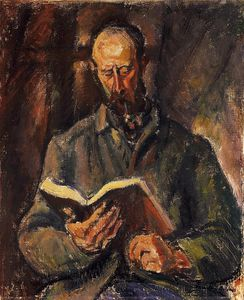 Odon Marffy - Man Smoking A Pipe And With A Book