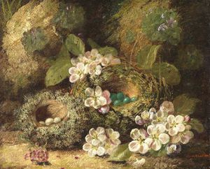 Oliver Clare - Primroses And Bird's Nests On A Mossy Bank