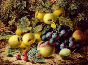 Oliver Clare - Still Life With Apples, Plums, Grapes And Raspberries