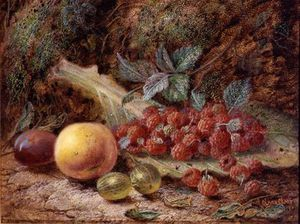 Oliver Clare - Still Life With Fruit On A Cabbage Leaf