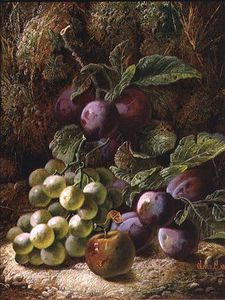 Oliver Clare - Still Life With Plums And Grapes