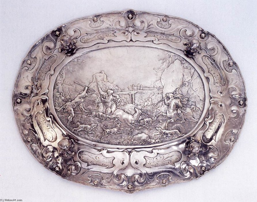 Basin (underside) by Paulus Van Vianen (1570-1614, Netherlands) | Art Reproduction | WahooArt.com