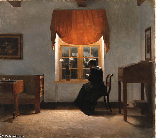 A Woman Knitting by Peder Vilhelm Ilsted (1861-1933, Denmark) | Paintings Reproductions Peder Vilhelm Ilsted | WahooArt.com