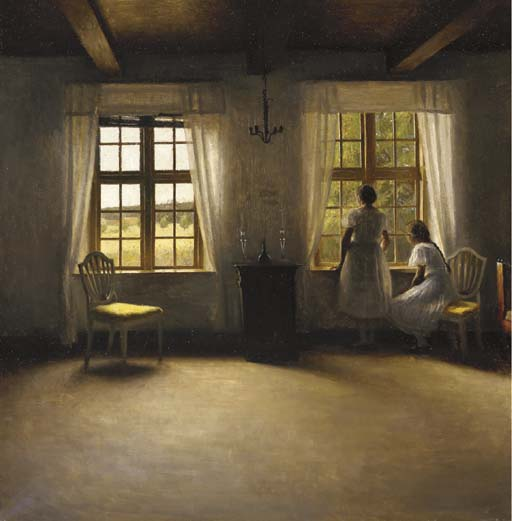 Young Girls Standing by Peder Vilhelm Ilsted (1861-1933, Denmark) | Oil Painting | WahooArt.com