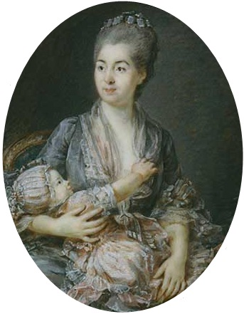 Buy Museum Art Reproductions | Portrait Of Marie-suzanne Roslin With Her Daughter by Peter Adolf Hall (1739-1793, Sweden) | WahooArt.com
