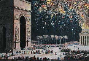 Philibert Louis Debucourt - View Of The Arc De Triomphe With Fireworks