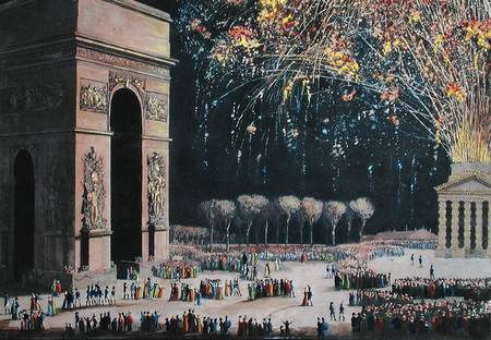 View Of The Arc De Triomphe With Fireworks by Philibert Louis Debucourt (1755-1832, France) | Museum Quality Reproductions | WahooArt.com