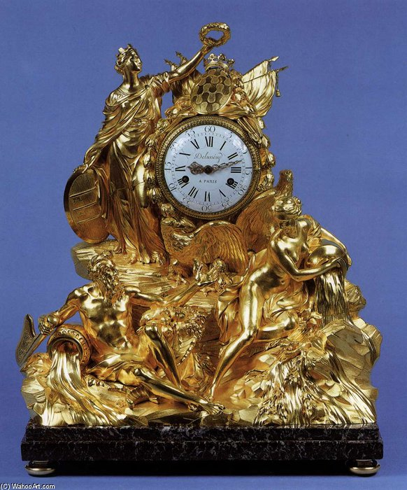 Mantel Clock by Pierre Gouthière (1732-1813, France) | Paintings Reproductions Pierre Gouthière | WahooArt.com