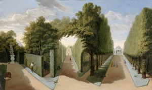 Pieter Andreas Rysbrack - A View Of Chiswick House Gardens With The Bagnio And Domed Building Alleys
