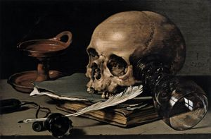 Pieter Claesz - Still-life With A Skull And Writing Quill