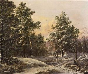 Pieter Gerardus Van Os - Sportsmen In A Winter Forest