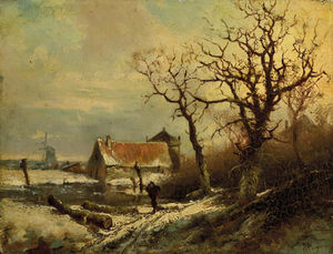 Pieter Lodewijk Francisco Kluyver - A Winter Landscape With A Wood Gatherer On A Snowy Track