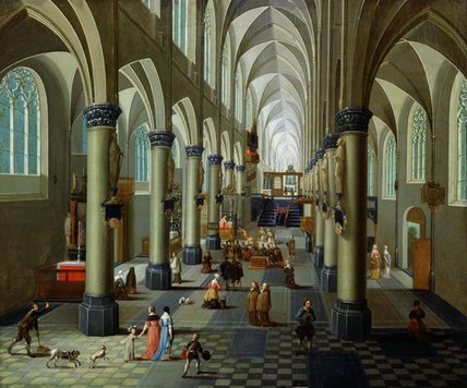 Interior Of A Church by Peeter Neeffs The Elder (1614-1652, Belgium) | Museum Quality Reproductions | WahooArt.com