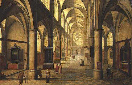 Interior Of Cathedral With Figures by Peeter Neeffs The Elder (1614-1652, Belgium) | Famous Paintings Reproductions | WahooArt.com