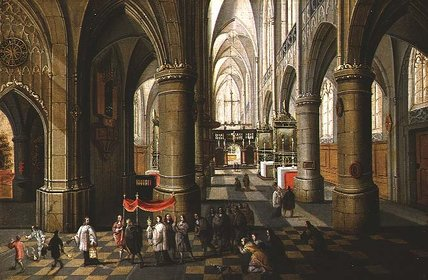 Interior Of A Cathedral With A Procession by Peeter Neeffs The Elder (1614-1652, Belgium) | Museum Quality Reproductions | WahooArt.com