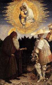 Pisanello - Apparition Of The Virgin To Sts Anthony Abbot And George. Panel. 47 X 29 Cm. National Gallery, London, Uk