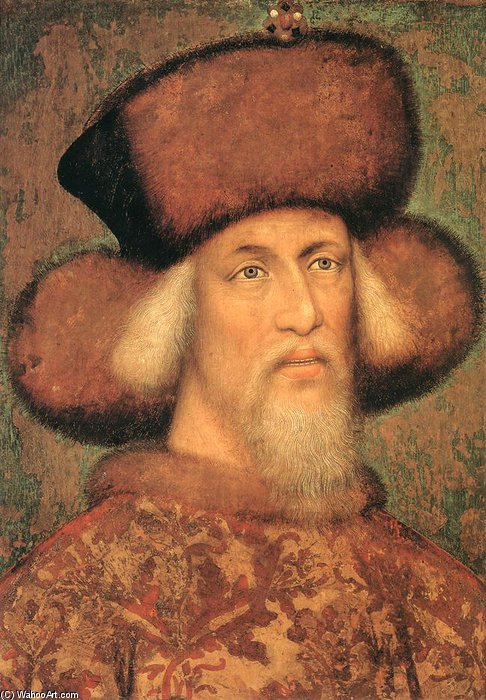 Order Reproductions | Portrait Of Emperor Sigismund Of Luxembourg. Tempera On Vellum Stuck On Wood. 64 X 49 Cm. Kunsthistorisches Museum, Vienna, Austria, 1433 by Pisanello (1395-1455, Italy) | WahooArt.com