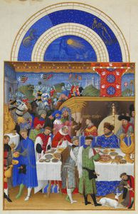 Pol De Limbourg - Les Tres Riches Heures Du Duc De Berry- Janvier (january). Illumination On Vellum. 22.5 X 13.6 Cm. Musee Conde, Chantilly, France