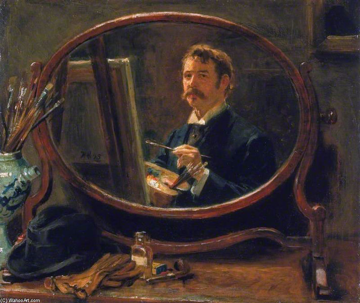 Self Portrait by Ralph Hedley (1848-1913, United Kingdom) | Painting Copy | WahooArt.com