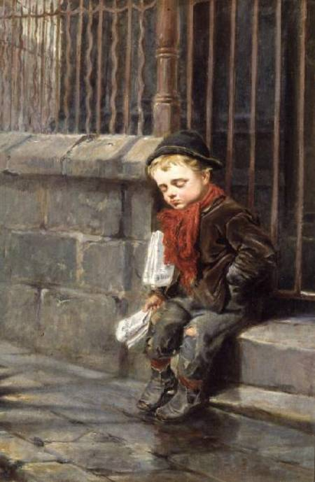 The News Boy - by Ralph Hedley (1848-1913, United Kingdom) | Painting Copy | WahooArt.com