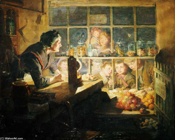 The Village Sweet Shop by Ralph Hedley (1848-1913, United Kingdom)