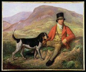 Ramsay Richard Reinagle - Portrait Of John Peel With One Of His Hounds