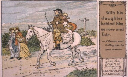 A Farmer Went Trotting Upon His Grey Mare - by Randolph Caldecott (1846-1886, United Kingdom) | Paintings Reproductions Randolph Caldecott | WahooArt.com