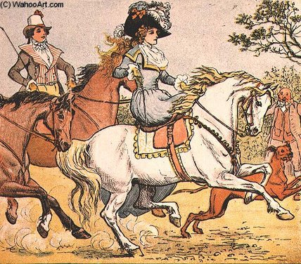 A Fine Lady On A White Horse From Ride A Cock Horse by Randolph Caldecott (1846-1886, United Kingdom) | Paintings Reproductions Randolph Caldecott | WahooArt.com