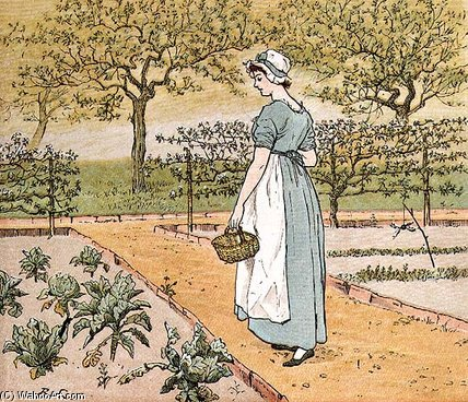 Order Paintings Reproductions | She Went Into The Garden by Randolph Caldecott (1846-1886, United Kingdom) | WahooArt.com